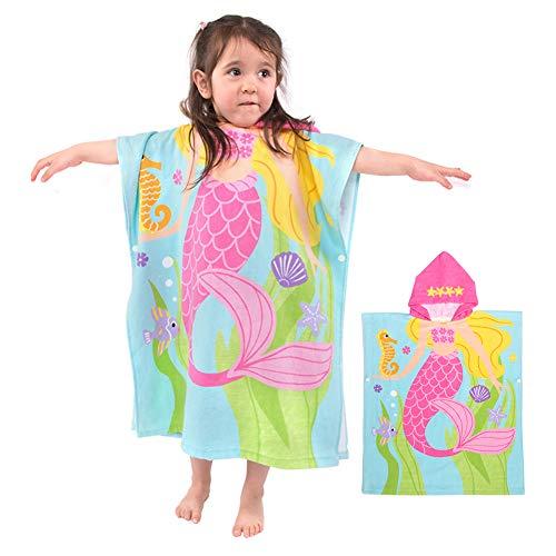 Badeponcho Kapuzenhandtuch Kinder Musselin Baumwolle Badetuch Bademantel Strandtuch Schwimmen für Mädchen Jungs Baby Bio Weich Warm Natur Hypoallergen (Meerjungfrau 140x60cm)