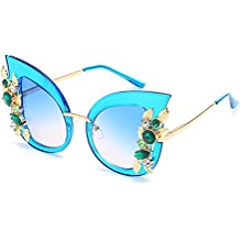 CVOO Personalized Oversized Inlaid Crystal Cat Eye Sunglasses For Womens 65MM