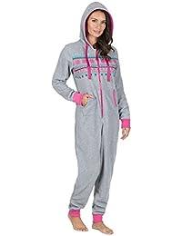 Ladies Micro Fleece Onesie Hooded Zip Athletic Pyjamas Los Angeles Aztec Fair Isle Elasticated Cuffed Ankles Wrists Pink Grey Navy Blue Maroon Size UK 8 10 12 14 16 18