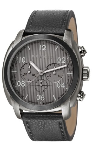Esprit Donton Chrono Men's Quartz Watch with Grey Dial Chronograph Display and Black Leather Strap ES107551003