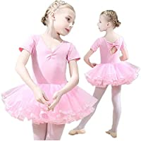Girls Ballet Dress Tutu Slim Dance Leotards Dress Short Sleeve Dress (7-8 Years Old)