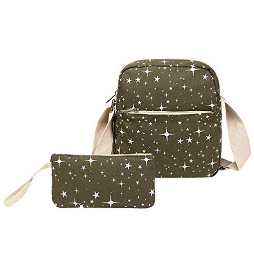 WanYang 3 Stück /2 Stück Freizeit Canvas Rucksack Studententasche Laptop Rucksack Schulbeutel Fashion Schultertasche Armee2