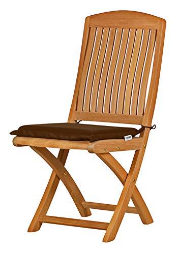 Kai Wiechmann 2X Auflage für Gartenstuhl aus lichtechtem Dralon 40 x 35 cm maschinenwaschbar (braun meliert), Polster für Stuhl