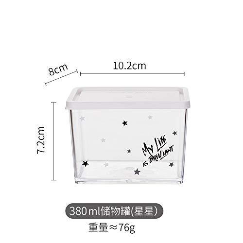 Tanque almacenamiento Contenedor grano,Moderno ama de casa, plástico transparente, latas selladas, alimentos para el hogar, granos variados, cocina, cocina, caja de almacenamiento creativa, estrellas