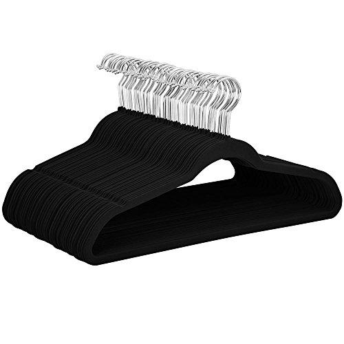 Yahee Stücke Samt Anzug Rutschfeste Oberfläche Kleiderbügel 100 x Samt Kleiderbügel schwarz 40cm