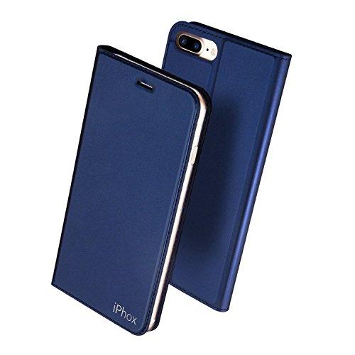 Coque iPhone 8 Plus, Housse iPhone 7 Plus, IPHOX Etui en Cuir Portefeuille de Protection, Livre Horizontale, Emplacements Cartes avec Fonction Support et Languette Magnétique, Compatible Charge Qi sans Fil pour iPhone 8 Plus / 7 Plus , Bleu/ CHW