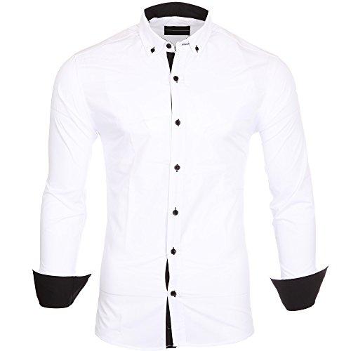 Reslad Herren-Hemd Kontrast Look Button-Down-Kragen Langarm-Hemd RS-7055 Weiß-Schwarz