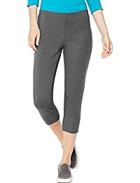Hanes By Women's Stretch Jersey Capris_Charcoal Heather_XL