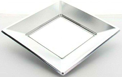 Fetez moi - 8 petites assiettes carrées argent jetables en PVC souple 17 cm