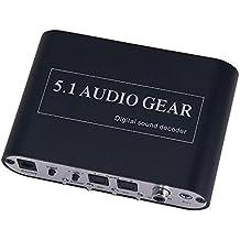 Audio Convertidor - TOOGOO(R)Transferir Dts/Ac-3 Senal Estereo(R/L) Equipo Audio 5.1 Convertidor Decodificador Sonido Digital negro