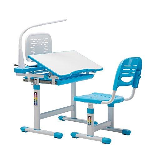 mecor Kinderschreibtisch mit Stuhl und Schublade, Höhenverstellbar Schülerschreibtisch Jugendschreibtisch für Kinder, Multifunktionale Schreibtisch Set, Arbeitsplatz mit Lagerung, inkl. Lampe/Blau (Lampe Schreibtisch Stehen)