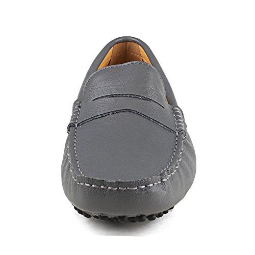 Shenduo - Mocassins pour homme cuir - Loafers confort - Chaussures de ville D7152 Gris
