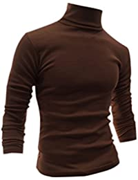 Homme Manches Longues à Col Roulé Slim Fit Confort T-Shirts
