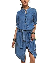 9b2b83d0efdb Bininbox Damen Jeanskleid knielang   Denim Blusenkleid kurzarm mit  Knopfleiste und Gürtel