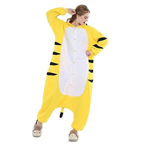 Imagen de abyed kigurumi pijamas unisexo adulto traje disfraz adulto animal pyjamas,tigre amarillo adulto talla xl para altura 175 183cm alternativa