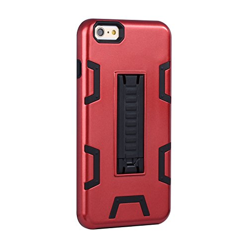 """HYAIT® For APPLE IPHONE 6 PLUS 5.5""""Case[C72][METAL][COLOR LINE][Holder] TPU+PC Premium Hybrid Shockproof Kickst Bumper Full-body Rugged Dual Layer Stents Cover-RED&BLACK IPHONE 6 5.5-C72-RED&BLACK"""