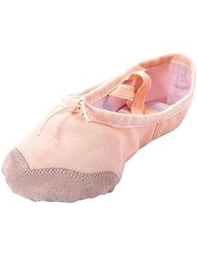 Happy Cherry - Zapatos de Ballet Zapatiilas de Danza Baile Media Punta de Lona Suela de Piel Punta Reforzada de...