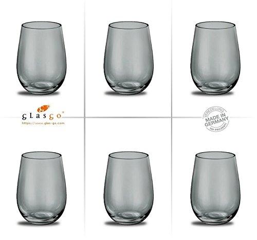 Prime-Versand: Design Trinkglas, Farbe Cool-Grey, Universalglas, Weinglas, Wasserglas, 6er Set...