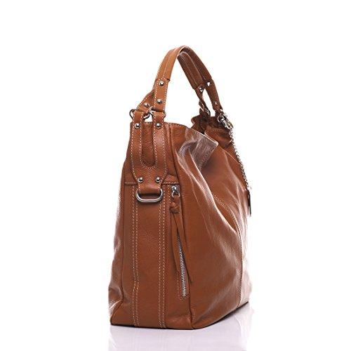 Anna Morellini - Leather Handbag - Made in Italy - 36x16x39 cm - Shopper - cross body - Shoulder Bag - Tote Bag CUOIO (26)