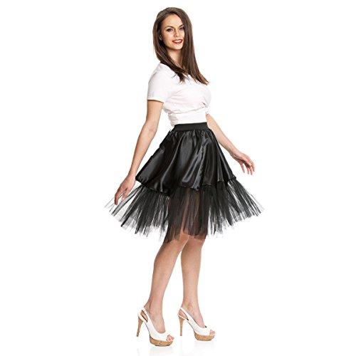 Kostümplanet® Petticoat schwarz mit Gummiband und Tüll Tutu Petti Coat Unterrock schwarzer Petticoat -
