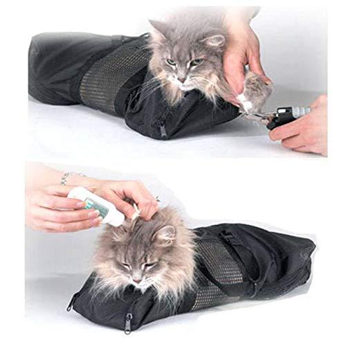 Womdee Pet Cat Fellpflegesack, zum Waschen von Katzen, zum Kratzen und Beißen, Polyester-Netztasche für Dusche, Reinigung von Ohren, Schneiden von Nägeln, Medizin Füttern -