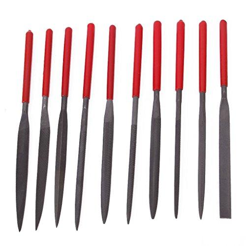 Sonline 10 Stueck 180mm Professionelle flaches Dreieck Schleifen Praegen Needle Datei Set Werkzeuge (Präge-nadel)