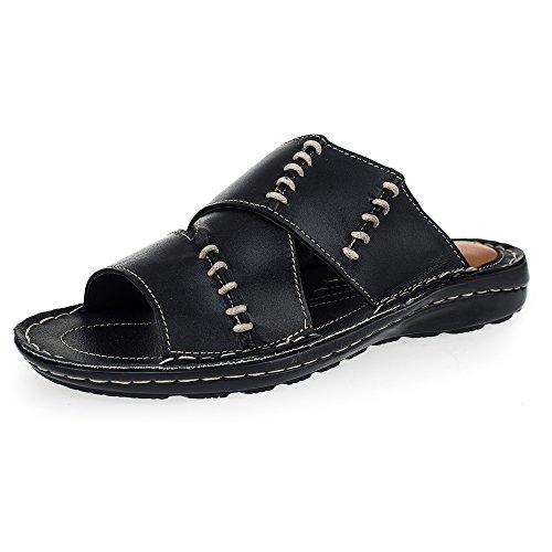 KS® - 168 - Sandalias para hombre - Ideales para verano - Cuero - Negro 44
