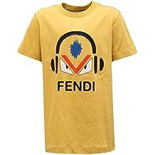 2416V maglia bimbo FENDI giallo yellow cotton t-shirt kid