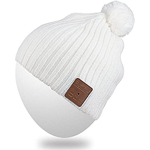 Gorro Bluetooth,Mydeal Beanie inalámbrica Bluetooth Sombrero de Pom Pom Música casquillo hecho punto con el auricular del auricular altavoces estéreo y micrófono manos libres para el deporte al aire libre de jogging esquí snowboard, regalos de la Navidad - Blanco
