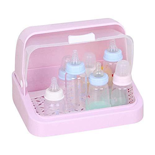 BO LU Babyflasche Trockengestelle Aufbewahrungsbox Flaschenhalter Mit Anti-Staub-Abdeckung Tray Organizer Reinigung Tragbarer Halter Für Baby,Pink-S - Fly Away Halter