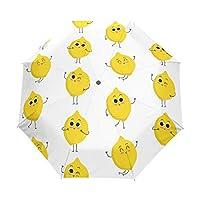 Jeansame Cute Lemon Emoji Folding Compact Umbrella Automatic Sun Rain Umbrellas for Women Men Kid Boy Girl