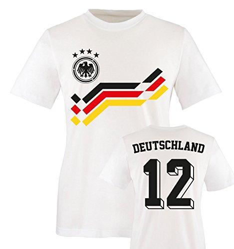 EM 2016 - RETRO-TRIKOT - DEUTSCHLAND - 12 - Kinder T-Shirt - Weiss / Schwarz-Rot-Gelb Gr. 98-104 (T-shirt Schwarzes Em)