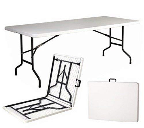Mesa plegable de resina dura de 240 x 76 x 74 (altura) cm, para fiestas, acampada o...