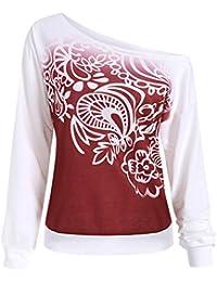 Mujer Sudaderas, ASHOP Manga Larga Otoño de impresión Blusa Patchwork Talla Extra Sweatshirt Casual Encapuchado Sudadera Mujer Cremallera Corta Top Deporte