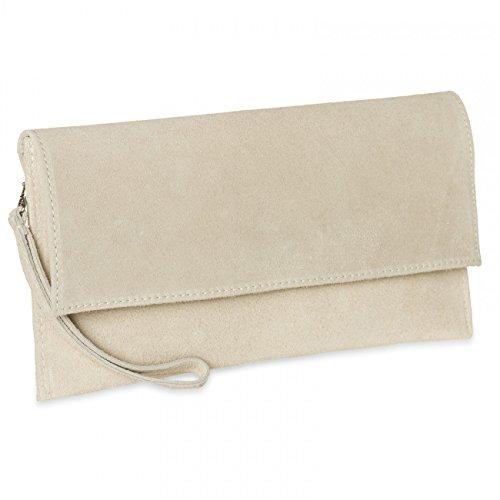 CASPAR TL702 Damen Wildleder / Veloursleder Clutch Tasche mit Handschlaufe, Farbe:hell beige