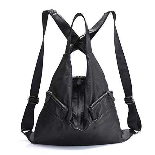 Working Girl Fashion (WENDYRAY Fashion Women Backpack Genuine Leather Unique Style Travel Bag Girl es Notebook Schoolbag for Working/Shopping/Dating,Black)