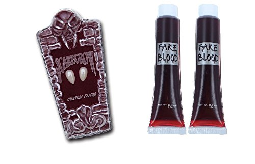 Preisvergleich Produktbild Scarecrow Custom Small Vampire Fangs And Blood Halloween Fancy Dress Accessory Set
