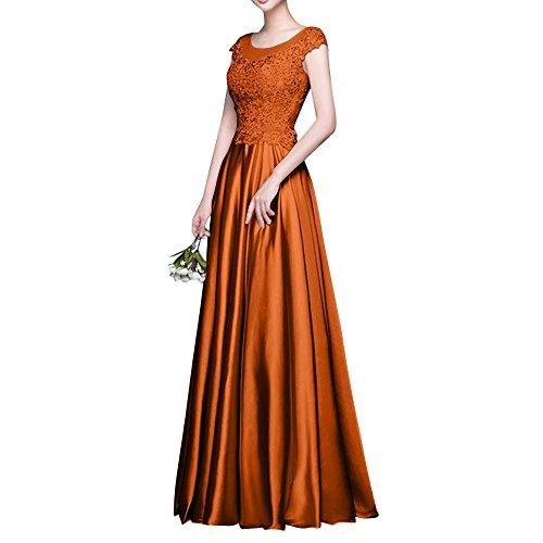 Charmant Damen Edel Rosa Spitze Satin Abendkleider Partykleider Promkleider Bodenlang A-linie Rock Orange