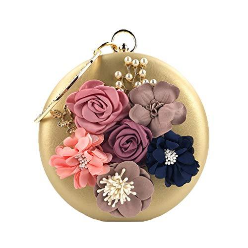 Women's Vintage Clutches Purses Evening Bags Handbag Leder kleine Geldbörse Telefon Tasche Shoulder Bag Seed Beaded Sequin Flower for Wedding Bridal Prom Party (Gold)