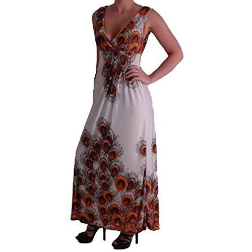 EyeCatchClothing - Peacock Griechen Style Kleid mit V-Nacken Ausschnitt Orange