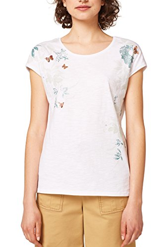 edc by ESPRIT Damen T-Shirt 048CC1K099, Mehrfarbig (White 100), Large