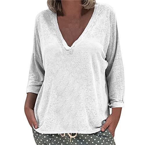 Damen Oberteile MYMYG Frauen Langarm Solid V-Ausschnitt T-Shirts beiläufige lose Tops Tunika Bluse Herbst und Winter Sweatshirt(Weiß,EU:48/CN-5XL)
