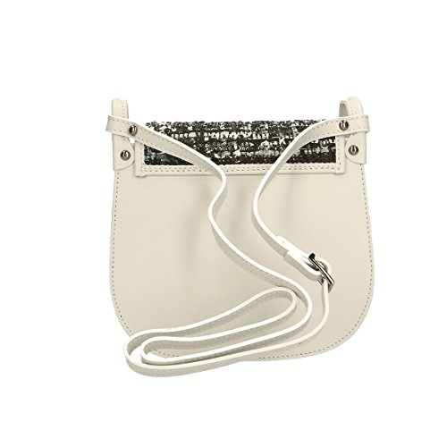 100 5 Genuine Chicca Borsa a 23x20x8 pelle Leather in Borse tracolla Grigio 0n148pwq1O