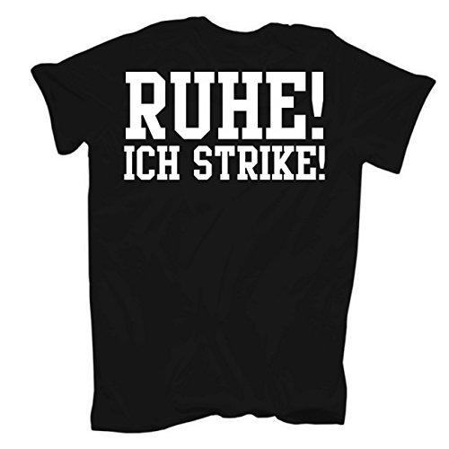 Männer und Herren T-Shirt Als Gott mich schuf - BOWLER (mit Rückendruck) Schwarz