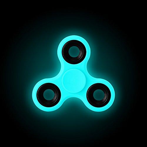 Fidget Spinner, JAMMYLIZARD Hand Mano SPINNER giocattolo FLUORESCENTE AL BUIO portatile anti stress anti ansia rotazione alta velocità, AZZURRO