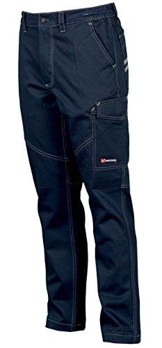 CHEMAGLIETTE! Pantaloni da Lavoro in Cotone 100% Multi Stagione Vestibilità Regular Tasche Laterali Portametro Bande Reflex, Colore: Navy, Taglia: XXL