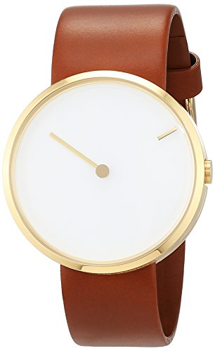 Jacob Jensen Jacob Jensen Curve 254 unisex quartz Watch with white Dial analogue Display and brown leather Strap 254