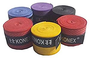Konex Multipurpose Badminton/Tennis/Squash Racket Super Tacky Touch Grip (Pack of 5)
