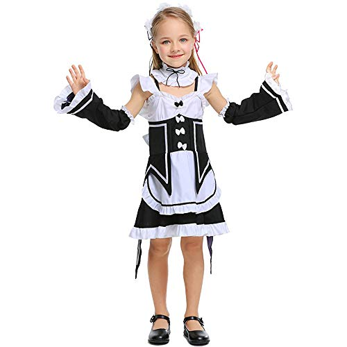 FDHNDER Child Cosplay Kleid Verrücktes Kleid Partei Kostüm Outfit Cosplay Damen Dienstmädchen Bühnenshow, S (Höhe 110-120)