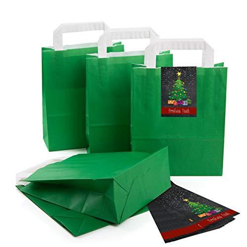 (25 kleine dunkel-grün Papier-Tüte Geschenk-Tasche mit Henkel Boden 18 x 8 x 22 cm + 25 Aufkleber Christbaum Weihnachts-Baum rot bunt schwarz FROHES FEST Geschenkverpackung Kraftpapier Be-Füllen)